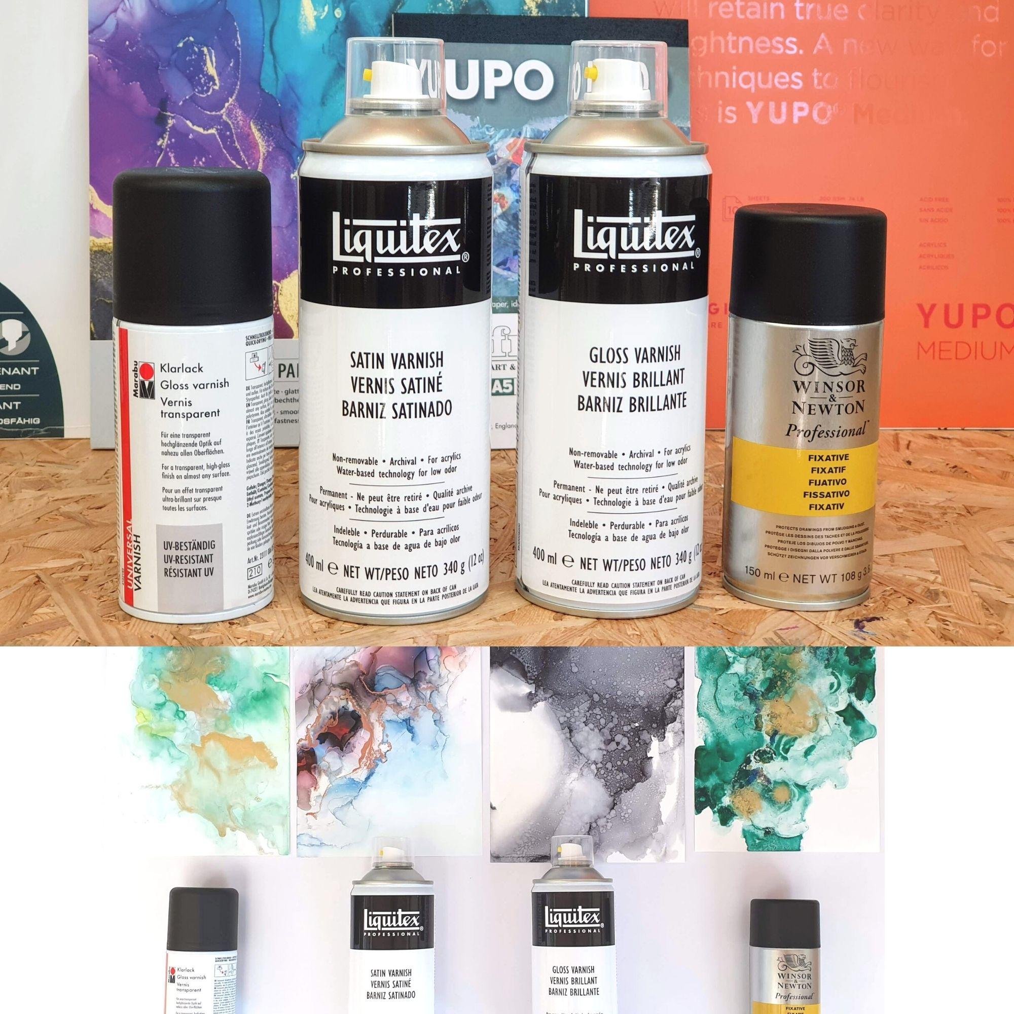 Alcohol Ink Bilder mit Firnis Sprays Versiegeln. 4 Sprays im Vergleich.