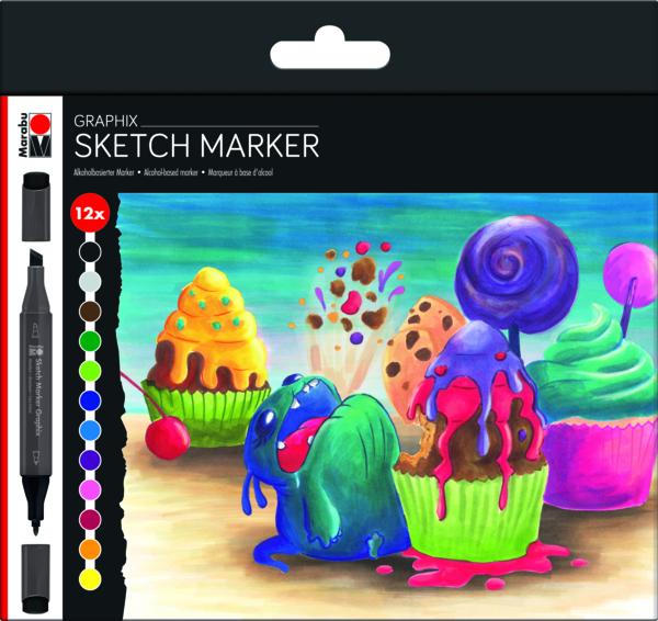 Marabu Graphix Sketch Marker 12er Set Sugarholic - Markers for Alcohol Ink